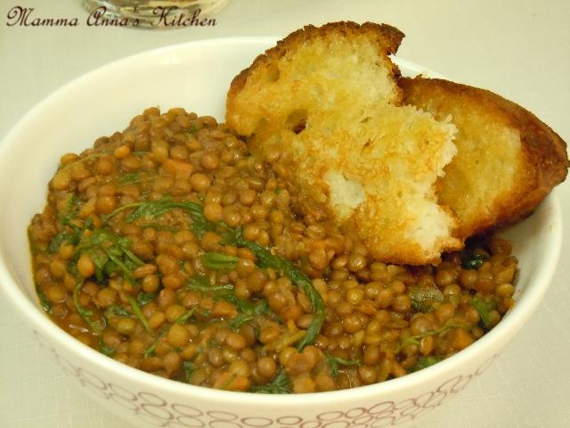 insalata calda di lenticchi e rucola